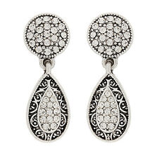 CLIP ON EARRINGS - silver drop with clear crystals & black enamel - Abigail