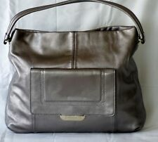 Kate Spade Pewter Silver Soft Leather Large Slouch Satche16 W x 13 H x 2.50 D