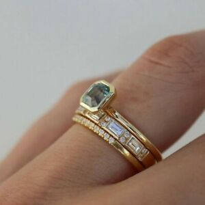 New Fashion  Rectangle Green gem white diamond  Gifts Wedding Ring Size 5-11