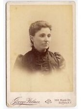 LADY IN BEAUTIFUL DRESS BY PALMER, BUFFALO, NY, ANTIQUE CABINET CARD