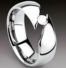 TITANIUM Angle Cut TENSION High Polished RING with CZ, size 13 - in Gift Box