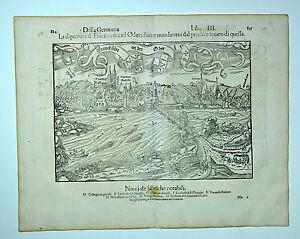 ANTIQUE ORIGINAL SEBASTIAN MUNSTER WOODCUT COSMOGRAPHIA GERMANY FRANKFURT 1548