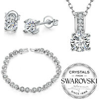 18K White Gold Plated Friendship Set Created with Swarovski Crystals ITALY MADE