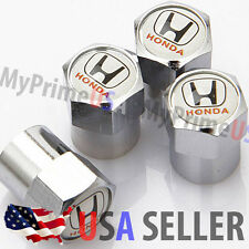 Honda Logo Valve Stems Caps Covers WHITE Chromed Emblem Air Car Auto Wheel Tire