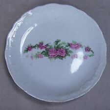 "Antique 3.25"" Porcelain Pink Roses Embossed Ware Scallop Edges Butter Pat Dish"