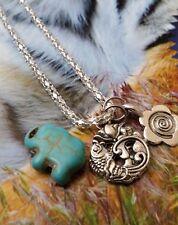 Good Life Karma Lotus Fish Daisy Spiral Turquoise Elephant Necklace