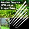 Stainless Steel Tweezers Aquarium Live Tank Curve Plant Long Tongs Scissor