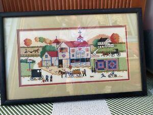Counted Cross Stitch PA Dutch Amish Buggies Horses Autumn Foliage Finished Frame