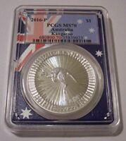 Australia 2016 P 1 oz Silver Dollar Kangaroo MS70 PCGS Flag Frame Holder