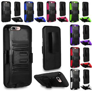 For Apple iPhone 8 / 7 / 6 Hybrid Hard Holster Belt Clip Kickstand Case Cover