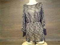 JENNIFER LOPEZ BLACK/SILVER METALLIC STRIPED KNIT TOP SIZE XS SLIMMING TIE SHEER
