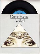 "DEBBIE HARRY Backfired BLONDIE PICTURE SLEEVE 7"" 45 record + jukebox title strip"