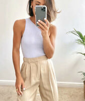 Zara SS20 High Waisted Pleated Darted Trousers Loose Fit Beige NWT XS-L 2664/732