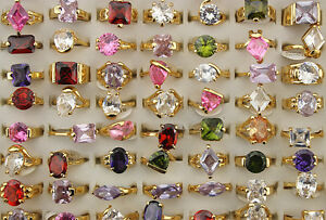 45pcs Women Lady's Jewelry Wholesale Mixed Lots Big Cubic Zircon Rings EH478