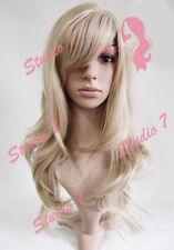 W61 Ash Blonde Bleach Blonde Highlight Long Wavy Ladies Wig Synthetic studio7-uk
