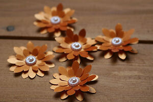 15 BURNT ORANGE SHIMMER 3D FLOWERS WEDDING STATIONERY, TABLE CONFETTI, TOPPERS