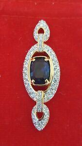 Swarovski Swan Signed Gold Tone Clear/Blue Crystals Brooch