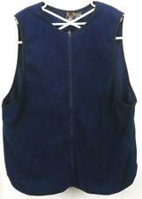 Performance Cycling Wear Men's Vest XL Full Zip Dark Blue Black Trim Fleece