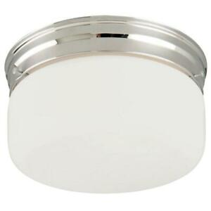 Design House 2-Light Chrome Ceiling Mount Fixture with White Opal Glass