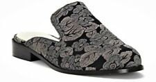 1.State Facia Women's Size 8.5M Black Pewter Floral Brocade Fabric Mules *NEW*