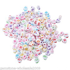 500PCS Wholesale  Acrylic Alphabet Beads Engrave Letters Jewelry Finding Mixed