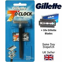 GENIUNE GILLETTE 7'OCLOCK STERLING SAFETY RAZOR +11 WILKINSON DOUBLE EDGE BLADES
