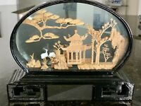 "Vintage Chinese Carved Cork Diorama Scene Under Glass Pagoda Storks 6"" x 8"""