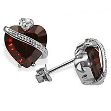 Goldmaid Ohrstecker 925er Silber Millenium-Cut Ohrringe Granat Herz Echtschmuck