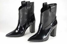 GIORGIO ALTAMODA LEATHER & PATENT BLACK ANKLE BOOTS EU 36.5 US 6.MADE IN ITALY