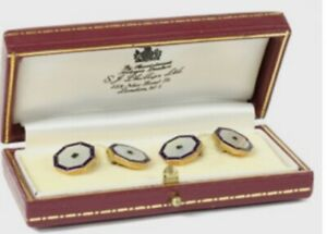 9ct Yellow Gold. Sapphire, Mother of Pearl & Enamel. Cufflinks. Boxed