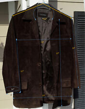 Men's Suede Genuine Heavy Duty Leather Lapel Long Sleeve Winter Jacket EXCELLNT