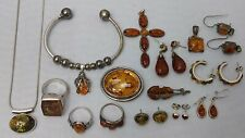 Fossilized Amber Jewelry Lot of Sterling Silver