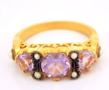 Ring Amethyst & Saat Pearl 925 Sterling Silver Goldplated Antique Style Ø 16,2