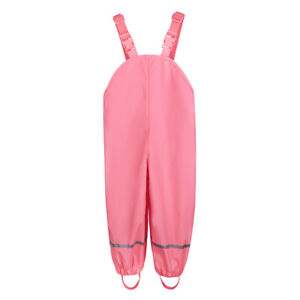 Children Kids Rain-proof Pants Outdoor Waterproof Trousers Solid Bib Long Pants