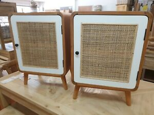 Boho scandi rattan doors natural and white  Cedarwood pair of bedside tables