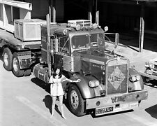 "Pinup Girl Model with 1970's Kenworth Semi Truck Big Rig Ol Blue 8""x10"" Photo 57"