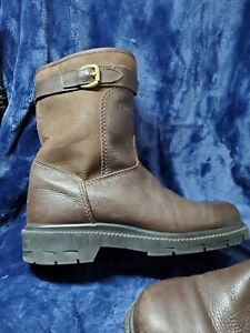 Vintage Orvis Leather shearling Lined Boots Made in USA Men's 10M Zip closed