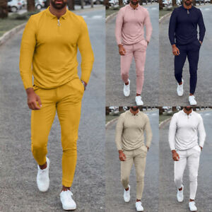 2-Piece Set Men Casual Long Sleeve Tops Pants Solid Sweatsuit Outfits Tracksuits