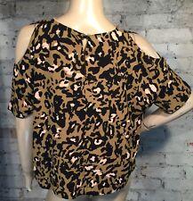 Topshop Blouse 4 (S) Cold Shoulder Top Shirt Short Sleeve Green Black Print