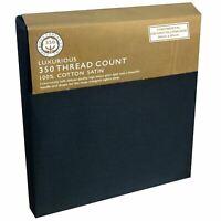 Continental Oxford Pillowcase 350 Thread Count Cotton Satin Black Plain 65x65cm