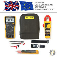 Fluke 117 True RMS Multimeter KITK + 325 Clamp Meter + TPAK3 + 1AC + C115 Case