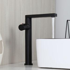 Matte Black Bathroom Vanity Sink Basin Mixer Faucet Deck Mount Long Spout Taps