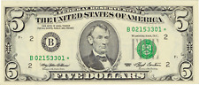 1993 $5 Federal Reserve Star Note New York FRN Rare Issue FR 1982-B*