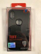 For Apple iPhone X/XS Black Carbon Fiber Tuff Hard TPU Hybrid Case Cover
