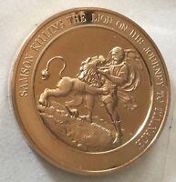 Thomason Medallic Bible 35: SAMSON KILLING THE LION. Franklin Mint Bronze