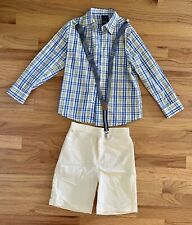 Nautica Oxford Yellow Pinstripe Shirt Suspenders W/ Short Pants Size 7 Exc