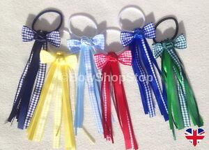 Gingham Ribbon Streamer School Hair Bow Elastic Bobbles Hair Girl Accessory 🇬🇧