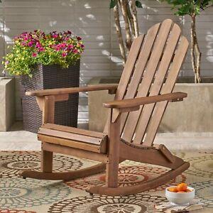 Cara Outdoor Adirondack Acacia Wood Rocking Chair