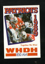 New England Patriots--1989 Pocket Schedule--WHDH--Stephens/Armstrong/Wooten