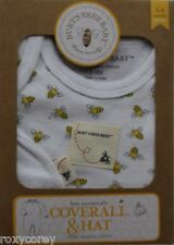 Burt's Bees Baby White with bees Coverall & Hat Set Size 3-6 months NIB